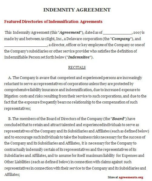 Indemnity Agreement, Sample Indemnity Agreement Template ...