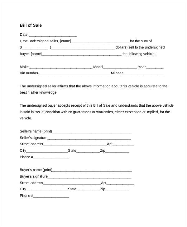 Bill of Sale Vehicle Form Sample - 8+ Free Documents in PDF, Doc