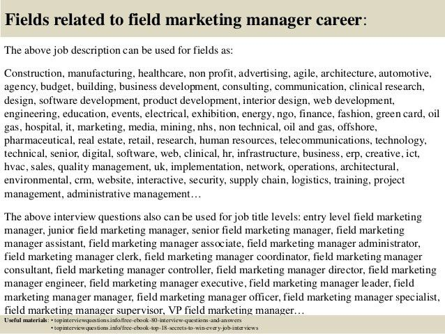 Top 10 field marketing manager interview questions and answers