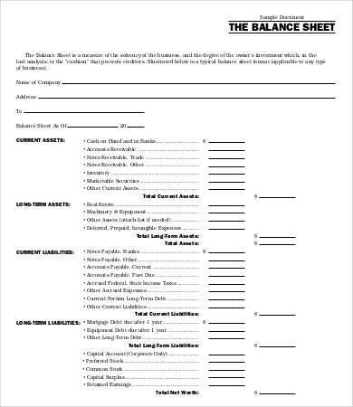 Personal Balance Sheet Template - 9+ Free Word, Excel, PDF ...