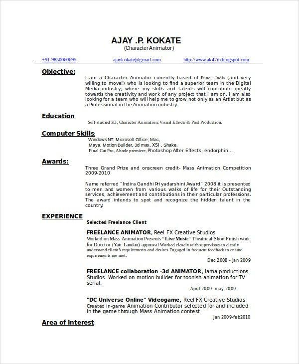 Animator Resume Template - 7+ Free Word, PDF Documents Download ...