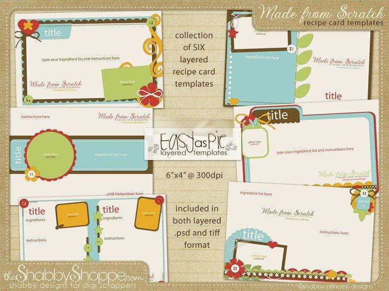 Recipe Card Templates - DigiShopTalk Digital Scrapbooking
