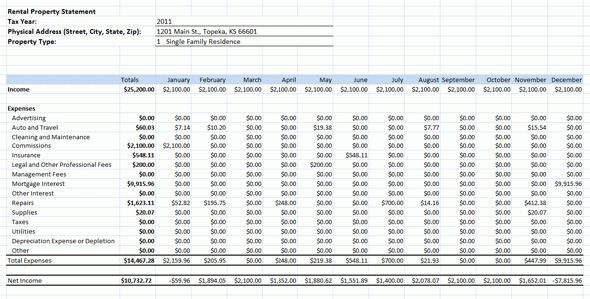 Rental Income Expenses Spreadsheet