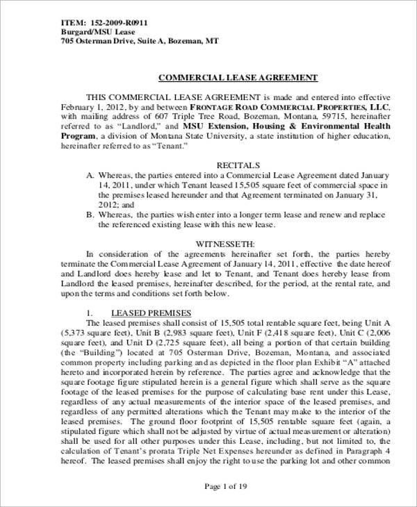 Property Lease Agreement Sample. Colorado Lease Agreement Colorado ...
