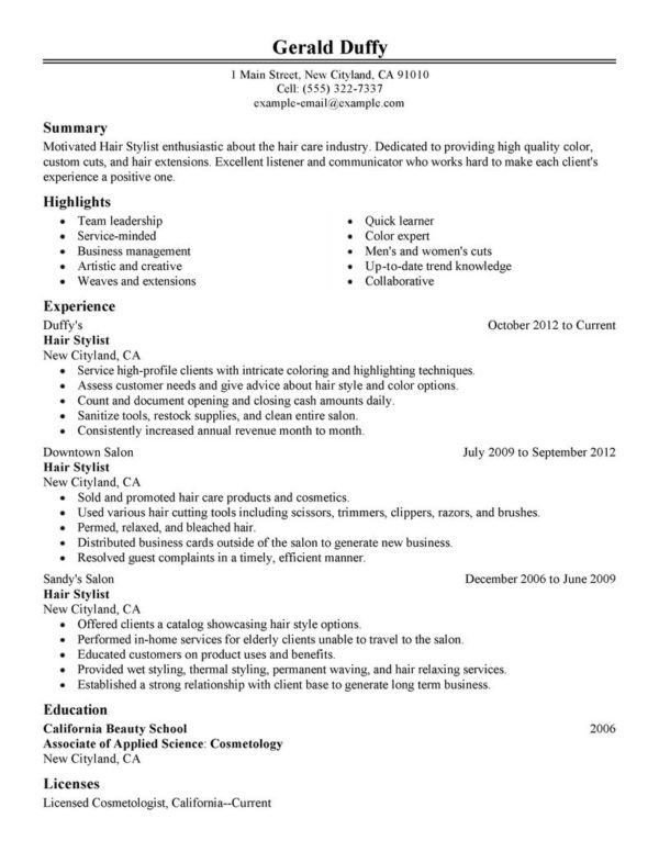 Attractive Resume Template Sample for Applying Hair Stylist Job ...