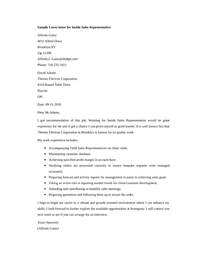 Basic Inside Sales Representative Cover Letter Samples and Templates