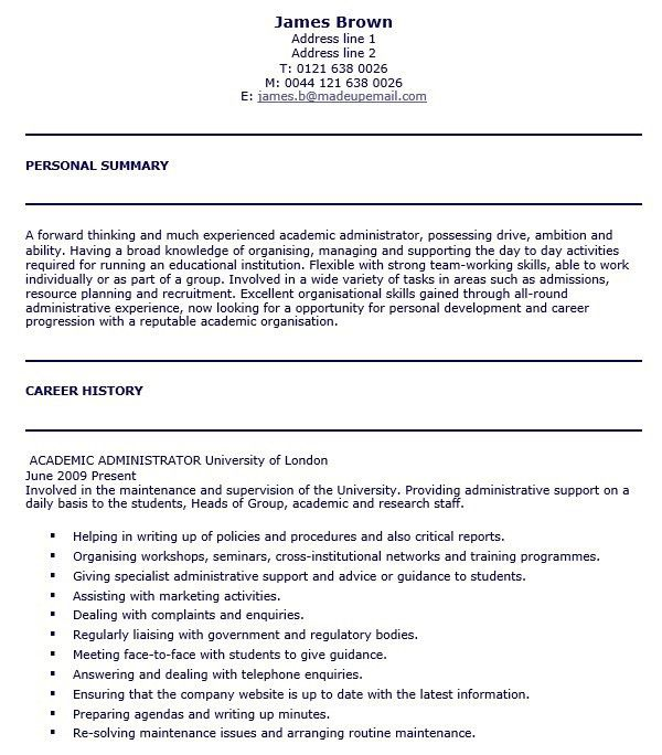 university administrator resume resume administrative position at