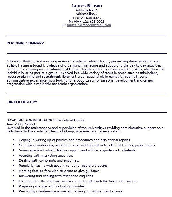 16 Free Sample University Administrator Resumes – Sample Resumes 2016