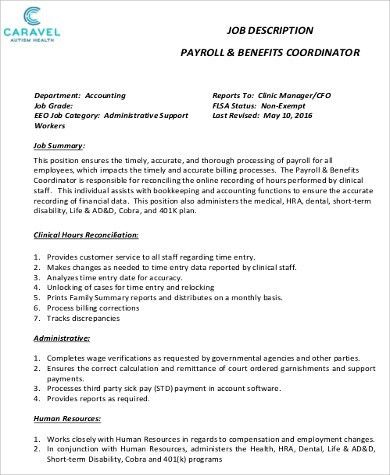 Payroll Coordinator Job Description. Payroll And Benefits ...