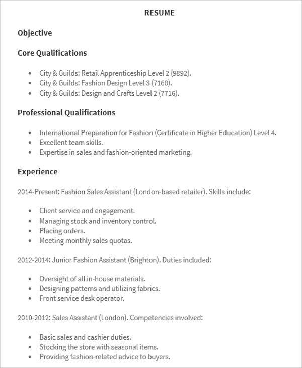Sales Assistant Resume Templates - 7+ Free Word, PDF Format ...
