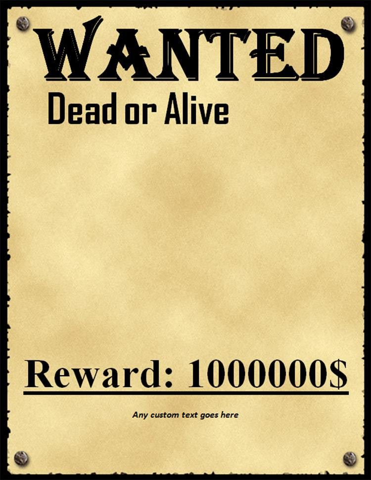 Inspiring Reward Posters Template And Beautiful Ideas Of Wanted ...