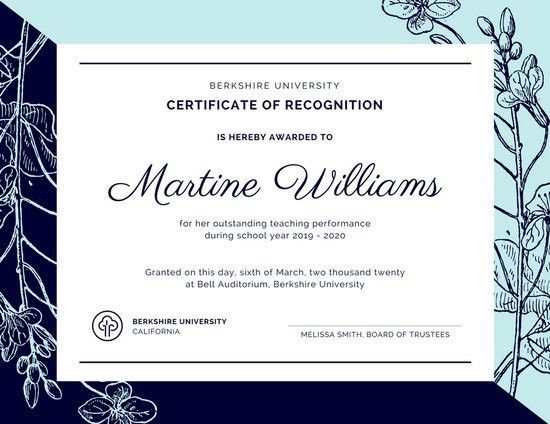 Light Blue & Dark Blue Certificate of Recognition - Templates by Canva