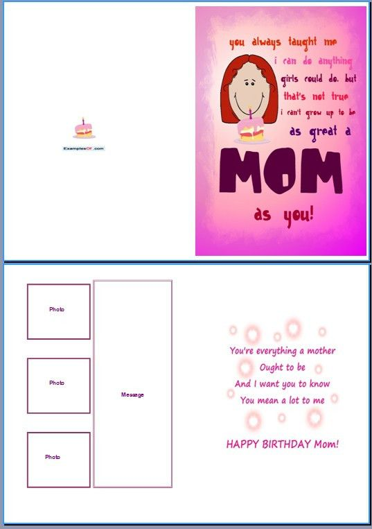 Example of Birthday Card for Her:Great Mom