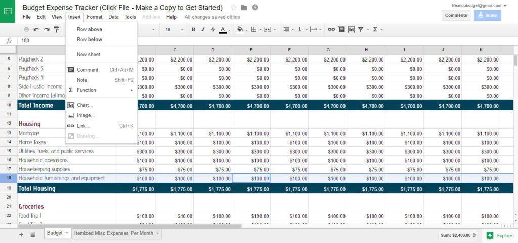 Budget Spreadsheet Template. Printable Budget Worksheet, Budget ...