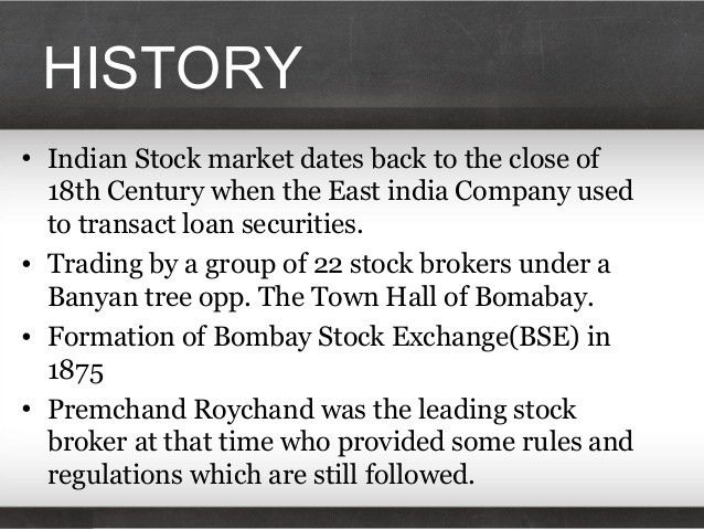 A presentation on the history of stock exchange in india, along with …