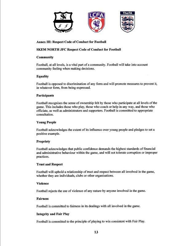 Code of conduct - SKEM NORTH Junior Football Club