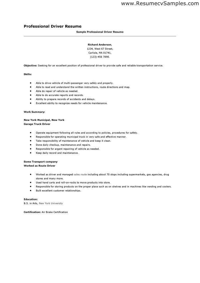 Resume For Driving Job - Resume CV Cover Letter