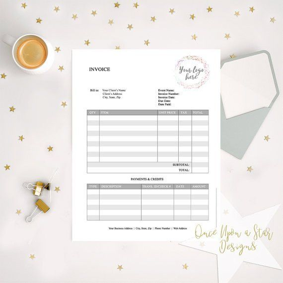 Invoice Template EDITABLE Business Forms Photographer