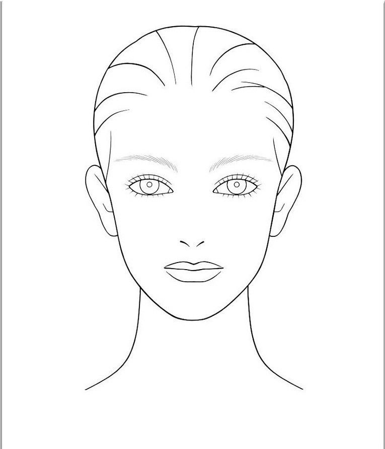 Blank Face Template For Hair And Makeup Foundation of your choice ...
