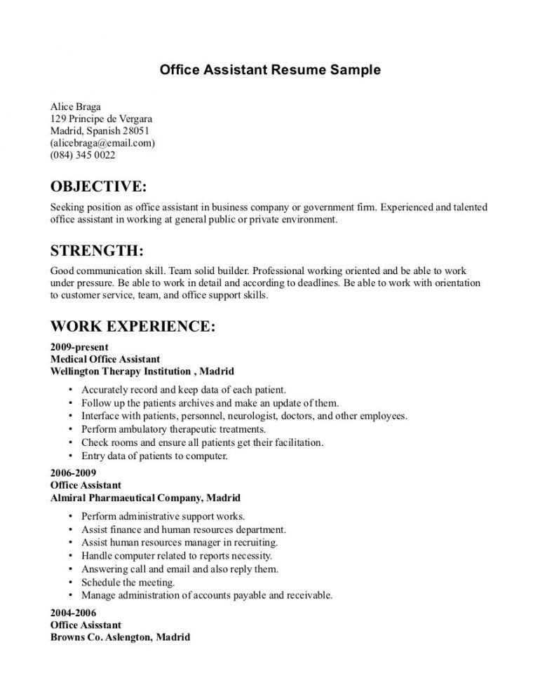 Examples Of Office Assistant Resumes. In Writing Entry Level ...
