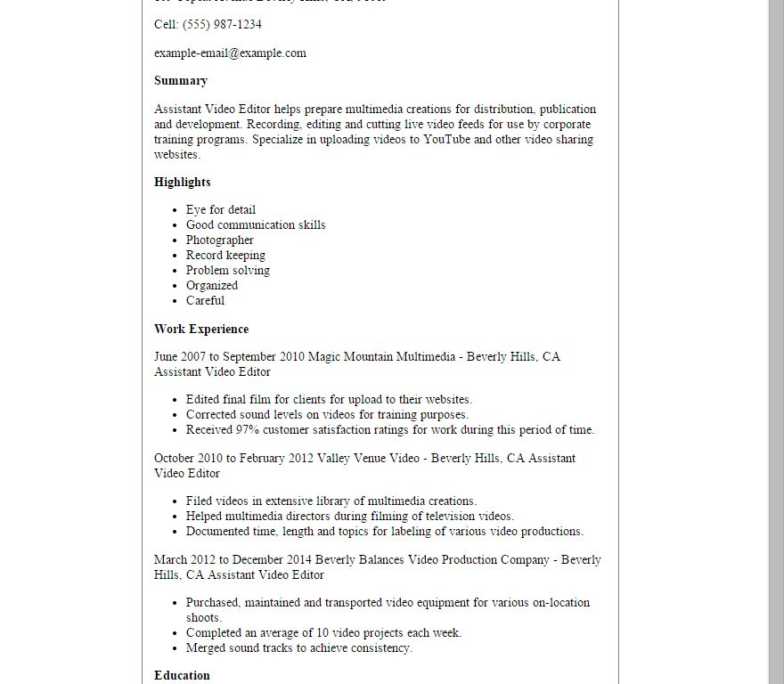 Crafty Inspiration Video Production Resume 13 Professional ...
