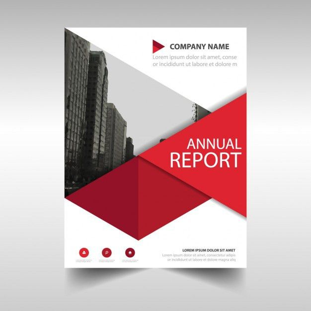 Red geometric annual report template Vector | Free Download