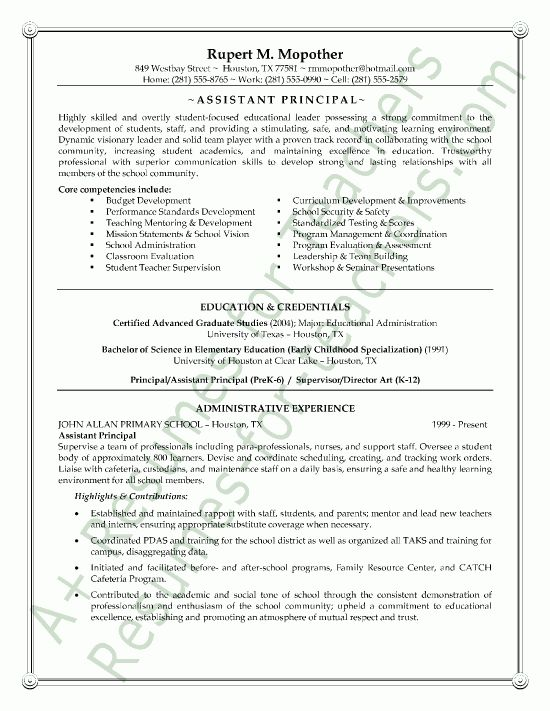 Assistant School Principal Resume or CV Sample a.k.a. Vice ...