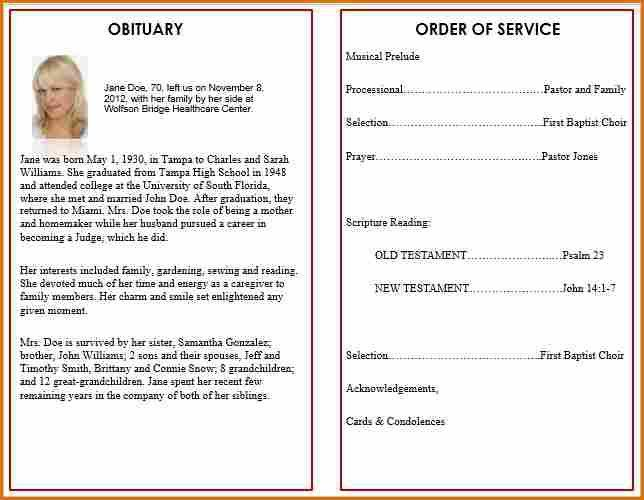 9+ funeral program template word | Job Resumes Word