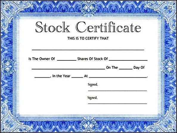Adoption Certificate Template. Stock Certificate Template Word ...