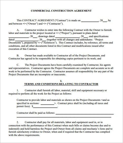 Construction Agreement Template - Word, Form, PDF, Excel Documents ...