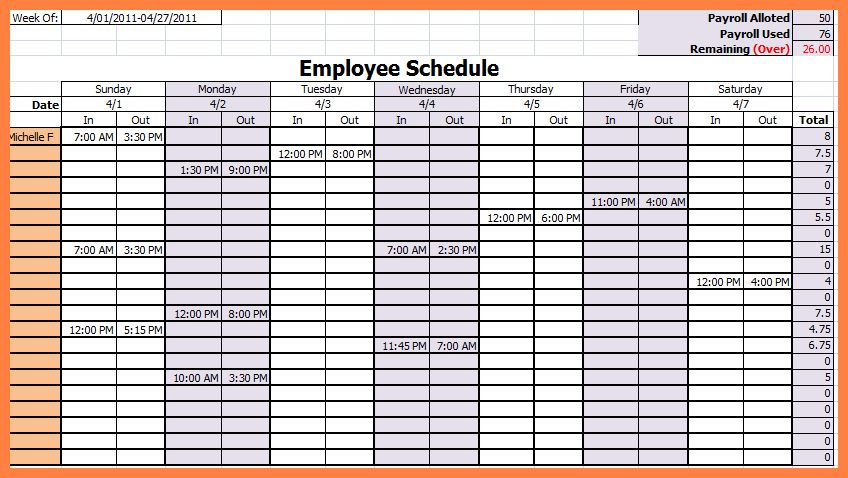 13+ excel employee schedule template weekly | Bussines Proposal 2017