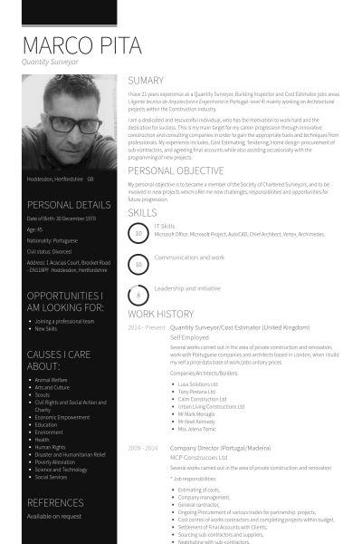 Quantity Surveyor Resume samples - VisualCV resume samples database