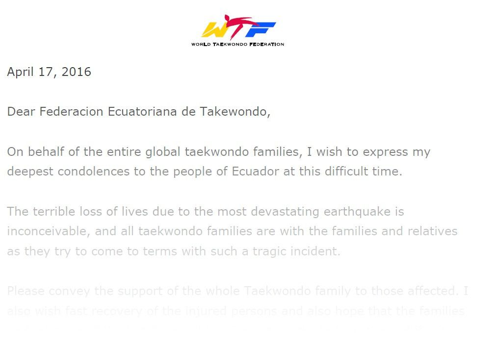 Condolence Letter on the Occasion of Earthquake in Ecuador - World ...