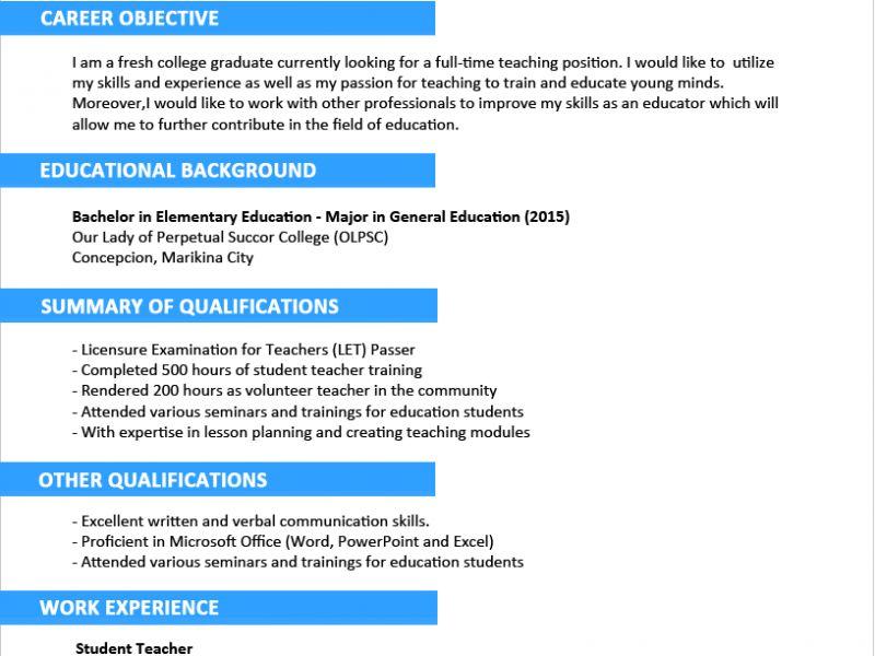 Stunning Idea Resume Sample Format 5 Sample Resume Format For ...
