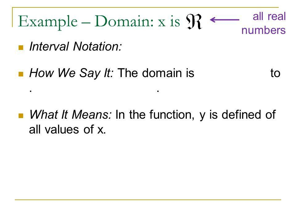 Domain and Interval Notation - ppt download