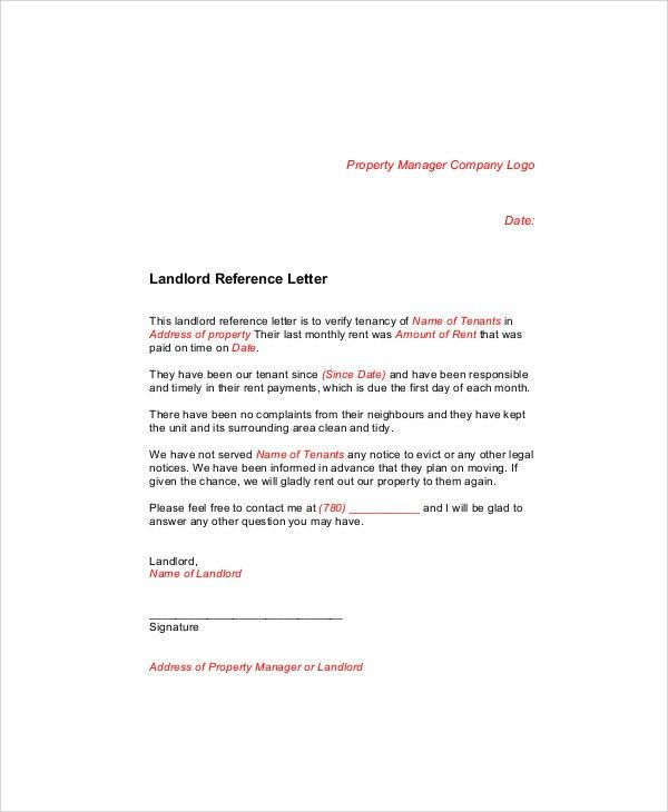 Sample Landlord Recommendation Letter - 7+ Examples in Word, PDF