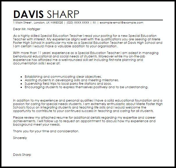 Special Education Teacher Cover Letter Sample | LiveCareer