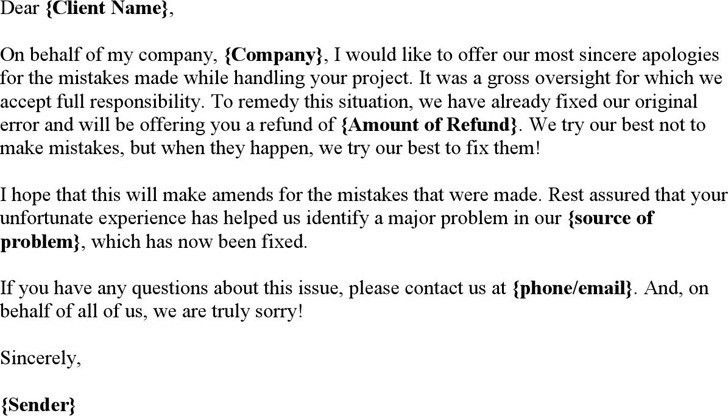 Apology Letter To Customer For Mistake [Template.billybullock.us ]