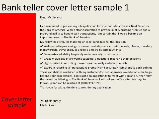 teller resume cover letter
