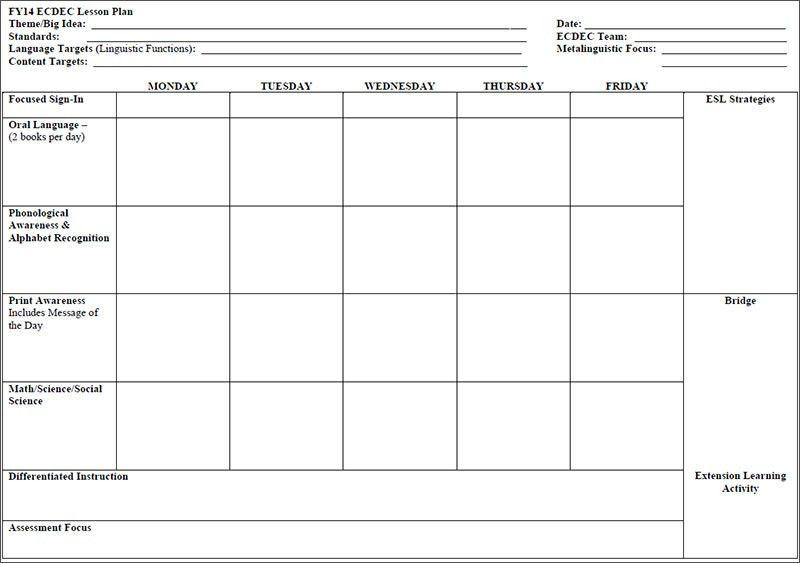 Preschool Lesson Template - Free Word, Excel, PDF Format ...