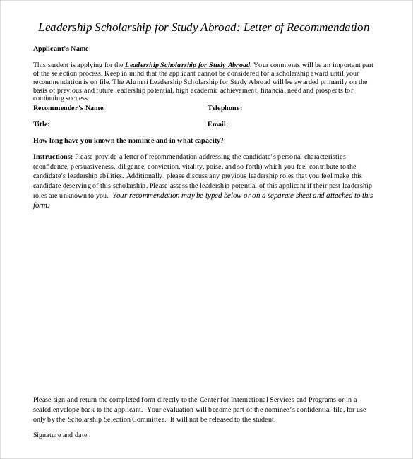 Letters Of Recommendation For Scholarship. Previousnext Previous ...