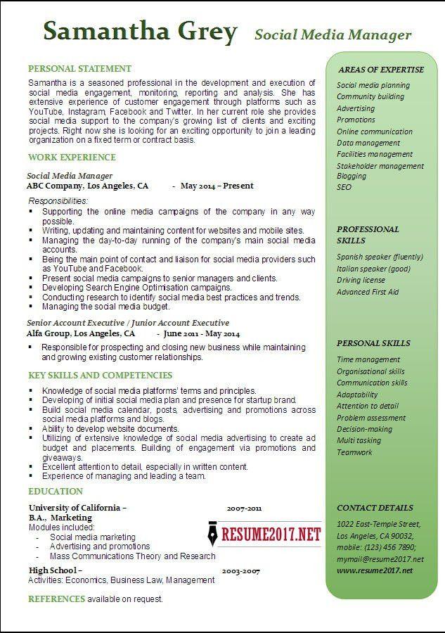 social media marketing resume sample for social media marketing ...