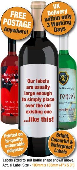 Personalised Wine Labels, Personalised Wine Bottle labels ...