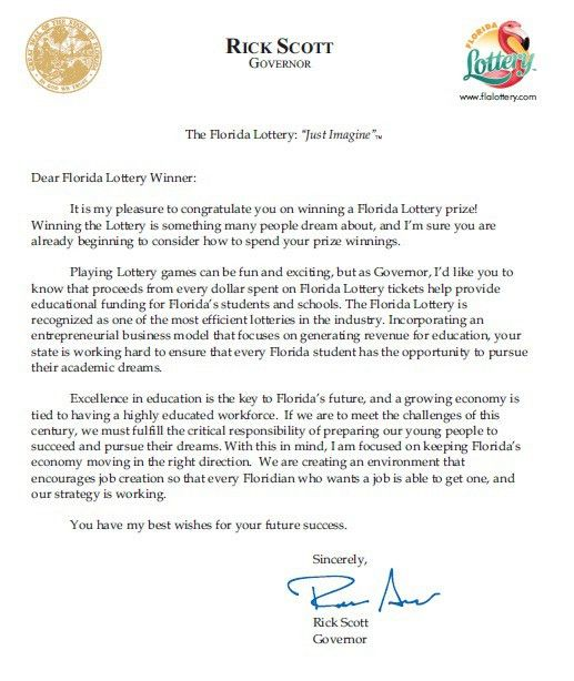 Governor takes congratulations to new level with note to Lottery ...