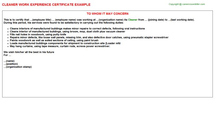 Cleaner Work Experience Certificate