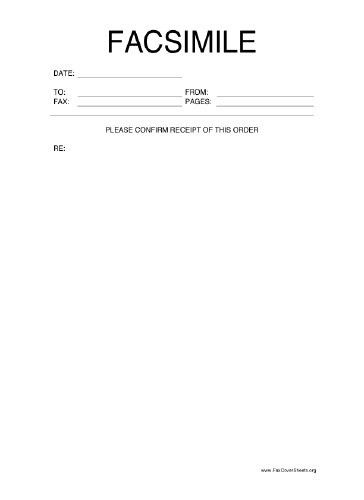 Confirm This Order Fax Cover Sheet at FreeFaxCoverSheets.net