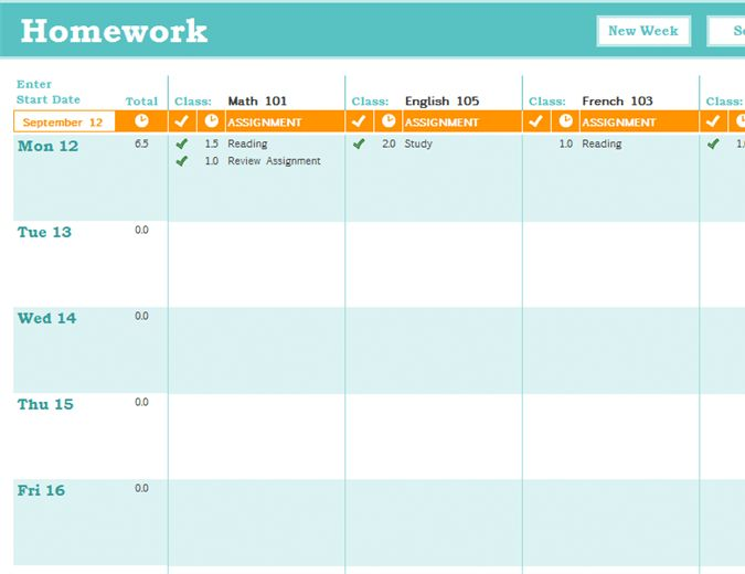 Homework schedule - Office Templates
