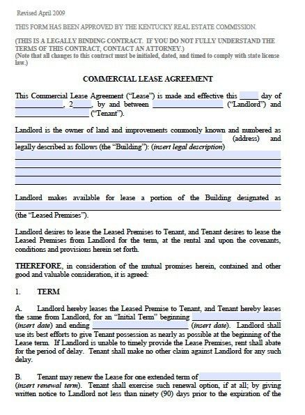 Free Kentucky Commercial Lease Agreement – PDF Template