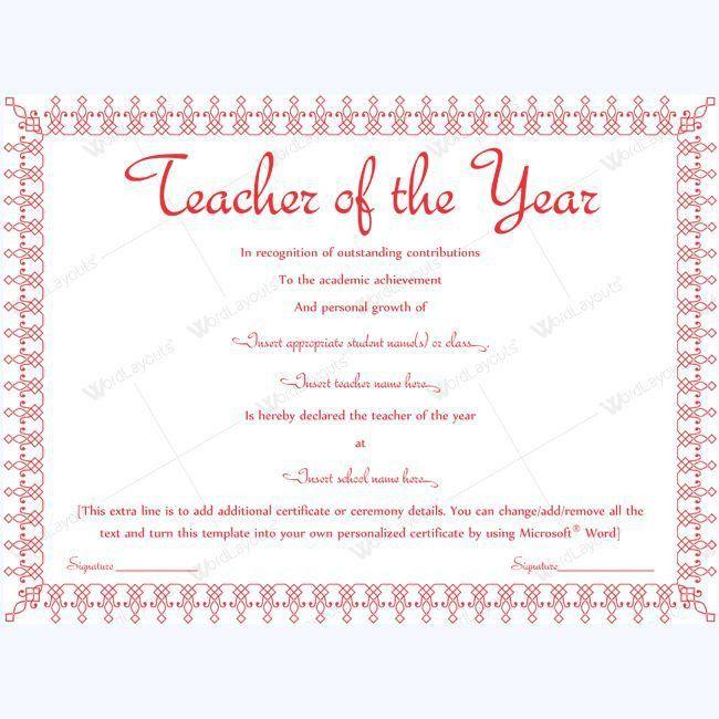 Teacher Of The Year Certificate Templates #award #teacher ...