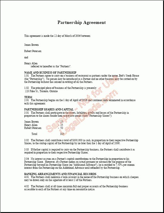 business partnership agreement contract templates